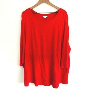 J.Jill Solid Red Tunic Top